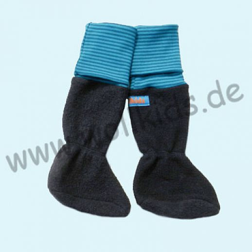 B WARE - Baby Tragestiefel Marine Petrol Ringel Schurwolle Walk muckelig warme Füße