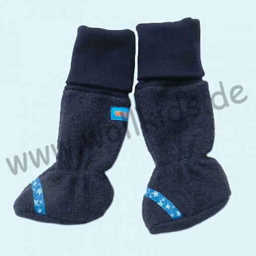 B WARE - Baby Tragestiefel Marine Sterne Schurwolle Walk muckelig warme Füße