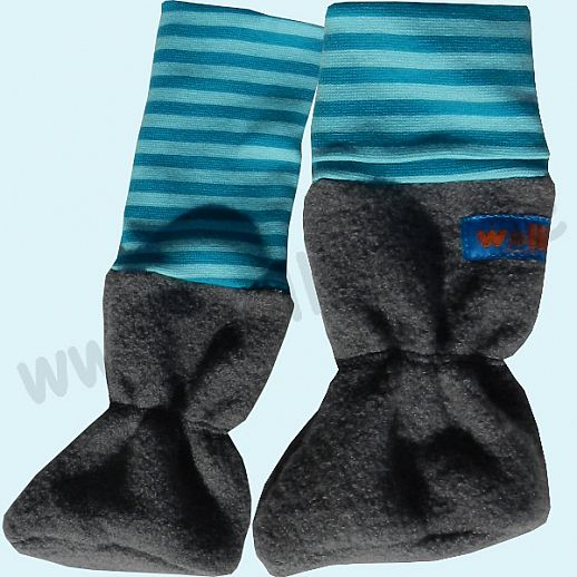 Baby Tragestiefel grau BIO türkis Ringel Schurwolle Walk muckelig warme Füße