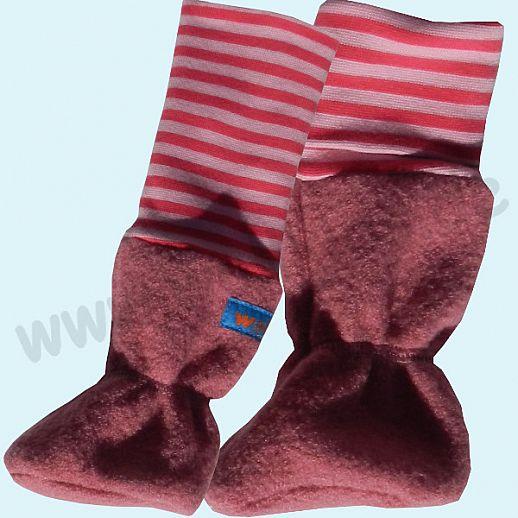 Baby Tragestiefel himbeer BIO pink Ringel Schurwolle Walk muckelig warme Füße