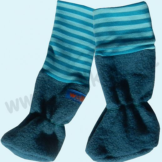 B-WARE Baby Tragestiefel petrol BIO türkis Ringel Schurwolle Walk muckelig warme Füße