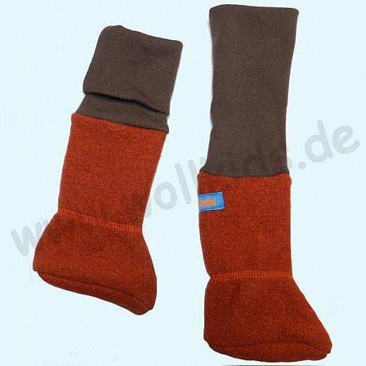Baby Tragestiefel terracotta mit Bündchen in schoko Schurwolle Walk muckelig warme Füße