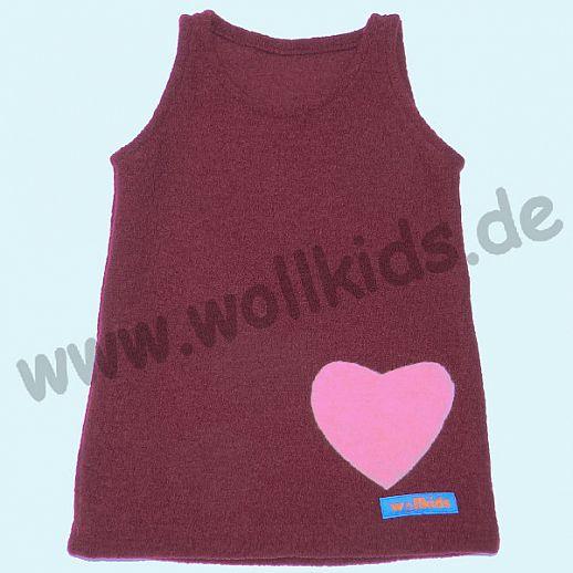 NEUER SCHNITT: Walk-Kleid bordeaux Herz - bezaubernd schön - Reine Schurwolle