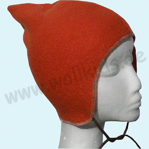 WOLLKIDS Walk-Mütze Baby & Kind, Schurwolle Walkmütze mit Band orange