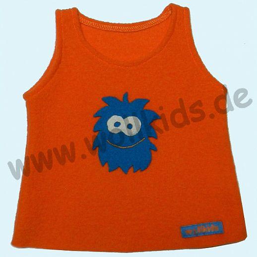 Neuer Schnitt: Öko-Walk Schlupfweste Wollwalk orange Monster türkis - Pullunder