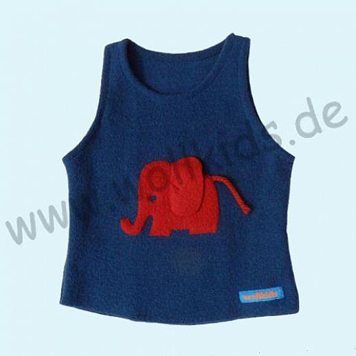 Neuer Schnitt: Öko-Walk Schlupfweste Wollwalk navy Elefant rot  - Pullunder