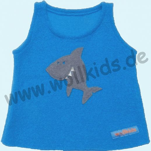Neuer Schnitt: Öko-Walk Schlupfweste Wollwalk türkis frecher Hai - Pullunder
