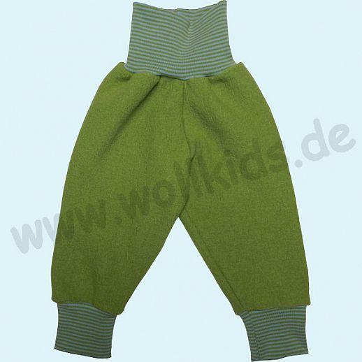 B-WARE: Wohlfühlhose - Walkhose mit Nabelbund - apfel - Yogabund kiwi-hellblau Ringel