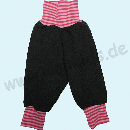 B-WARE: Wohlfühlhose - Walkhose mit Nabelbund - anthrazit - mit BIO-Ringel Yogabund rosa-pink