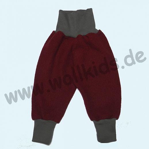 Wohlfühlhose - Walkhose mit Nabelbund - bordeaux - Yogabund grau