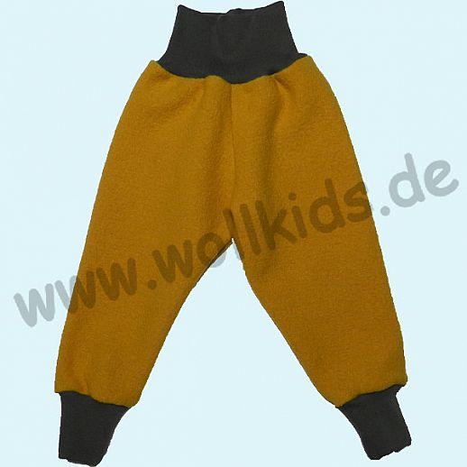 Wohlfühlhose - Walkhose mit Nabelbund - curry gelb - Yogabund grau
