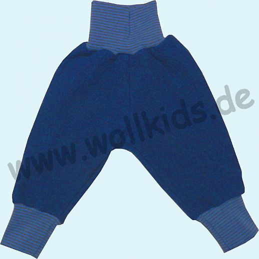 Wohlfühlhose - Walkhose mit Nabelbund - navy blau - Yogabund grau-blau Ringel