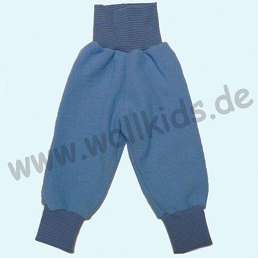 Wohlfühlhose - Walkhose mit Nabelbund - taubenblau - Yogabund grau-blau Ringel