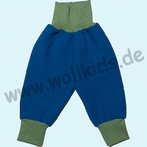 Wohlfühlhose - Walkhose mit Nabelbund - türkis - Yogabund kiwi-hellblau Ringel