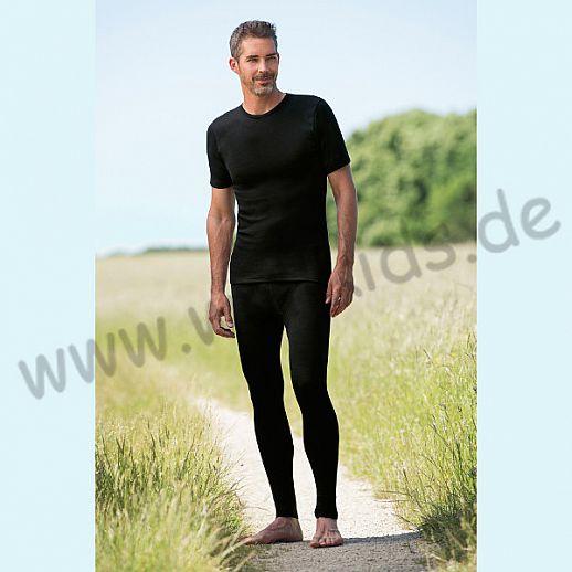 ENGEL: Herren Leggin - lange Unterhose - Wolle Seide schwarz BIO