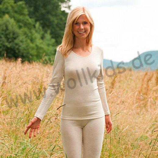 ENGEL: Damen Langarm Hemd - LA Hemd - Wolle Seide natur BIO
