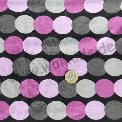 Jersey - Baumwolle - Dots anthrazit grau lila  - sehr hochwertige Qualität